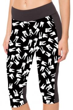Womens Side Pocket Teeth Printed Sports Capri Leggings White