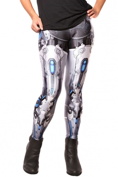 Womens Sexy 3D Mecha Printed Slimming Leggings Turquoise
