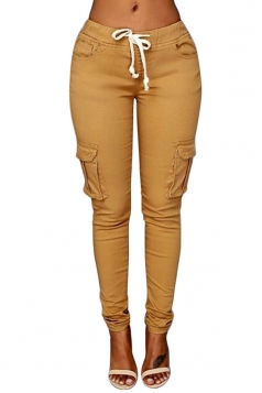 Womens Casual Plain Drawstring Waist Pockets Pants Khaki