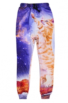 Womens Leisure 3D Galaxy Cat Printed Jogger Sports Pants Brown