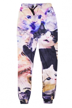 Womens Leisure 3D Cute Cat Printed Jogger Sports Pants Khaki