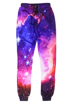Womens Leisure 3D Galaxy Printed Jogger Sports Pants Purple