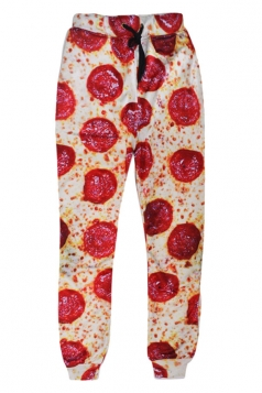 Womens Leisure 3D Pizza Printed Jogger Sports Pants Red