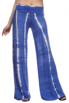 Womens Fashion Palazzo Tie Dye Printed Leisure Pants Sapphire Blue