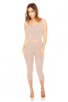 Womens Sexy Plain Tank Crop Top & Pants Suit Khaki