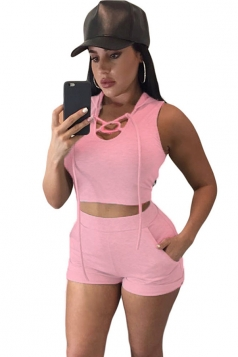 Womens Sexy Lace Up Front Hooded Crop Top and Short Set Pink
