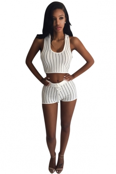 Womens Stylish Striped Hooded Crop Top & Shorts Set White