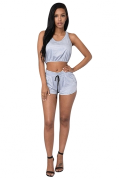 Womens Sexy Plain Hooded Crop Top & Shorts Suit Light Blue