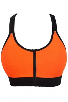 Womens Sexy Color Block Zipper Front Sports Bra Orange