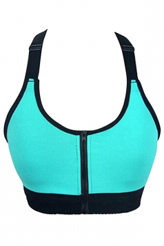 Womens Sexy Color Block Zipper Front Sports Bra Turquoise