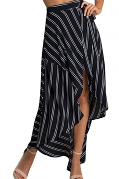Womens Sexy Striped Printed Irregular Maxi Skirt Black