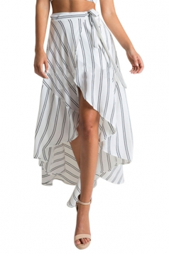 Womens Sexy Striped Printed Irregular Maxi Skirt Beige White