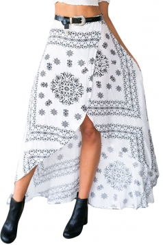 Womens Sexy Exotic Printed Irregular Maxi Skirt White