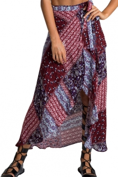 Womens Sexy Exotic Printed Irregular Maxi Skirt Ruby