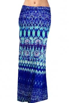 Womens Fashion Exotic Printed Maxi Skirt Blue