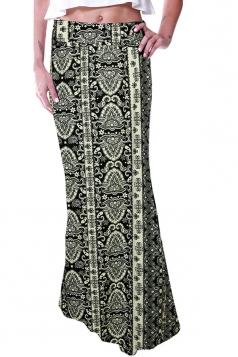Womens Fashion Exotic Printed Maxi Skirt Black