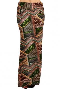 Womens Fashion Exotic Printed Maxi Skirt Chestnut