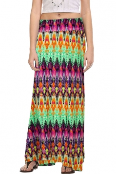 Womens Fashion Exotic Printed Maxi Skirt Green