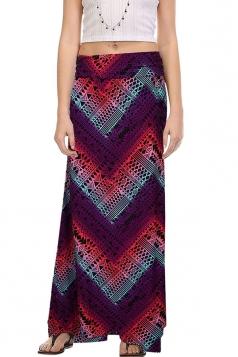 Womens Fashion Exotic Printed Maxi Skirt Purple
