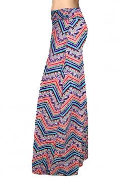 Womens Fashion Exotic Printed Maxi Skirt Pink