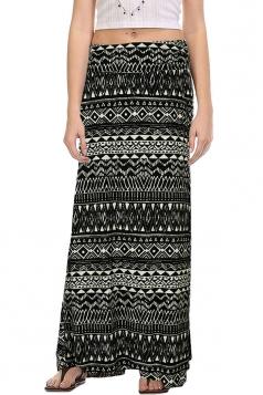 Womens Fashion Exotic Printed Bodycon Maxi Skirt Black