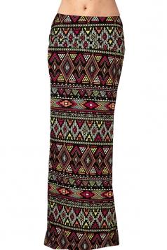Womens Fashion Exotic Printed Bodycon Maxi Skirt Brown