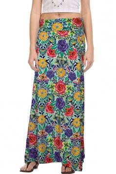 Womens Fashion Exotic Printed Bodycon Maxi Skirt Green