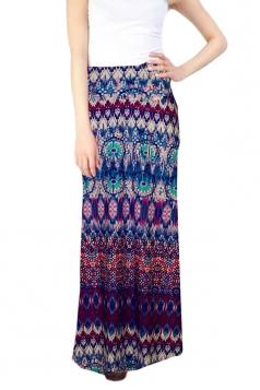 Womens Sexy Bodycon Exotic Printed Maxi Skirt Purple