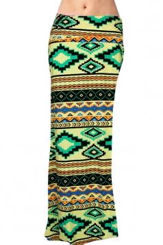 Womens Fashion Exotic Printed Bodycon Maxi Skirt Yellow