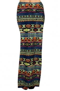 Womens Fashion Exotic Printed Bodycon Maxi Skirt Navy Blue