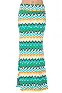 Womens Fashion Geometric Printed High Waist Maxi Skirt Blue