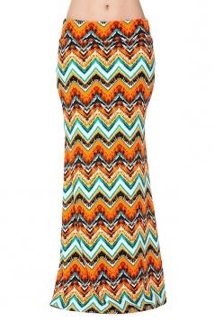 Womens Fashion Geometric Printed High Waist Maxi Skirt Orange