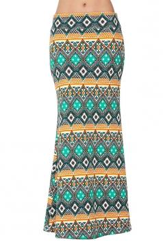 Womens Fashion Geometric Printed High Waist Maxi Skirt Green
