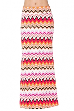 Womens Fashion Geometric Printed High Waist Maxi Skirt Pink