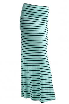 Womens Fashion Striped Printed Bodycon Maxi Skirt Green