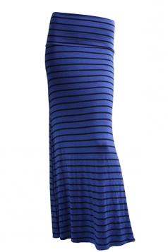 Womens Fashion Striped Printed Bodycon Maxi Skirt Sapphire Blue