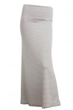 Womens Fashion Striped Printed Bodycon Maxi Skirt White