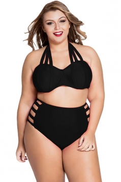 Womens Plus Size Straps Top&High Waist Cut Out Bottom Bikini Set Black