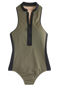 Womens Sexy Color Block Zipper Front Monokini Army Green