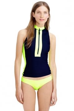 Womens Color Block Zipper Front Tankini Top & Swimsuit Bottom Blue