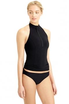 Womens Sexy Halter Zipper Front Tankini Top & Swimwear Bottom Black