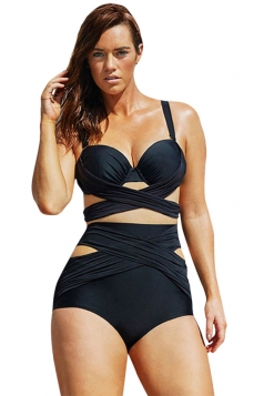 Womens Sexy Cross Bandage Top & High Waist Bottom Bikini Set Black