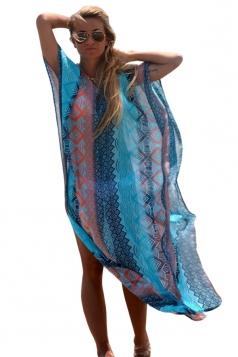 Womens Sexy Exotic Printed Side Slit Beach Dress Blue