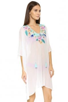Womens Sexy Sheer Floral Printed Beach Dress White