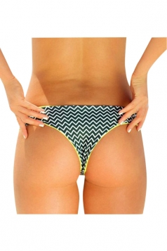 Womens Sexy Wave Printed Swimsuit Bottom Army Green