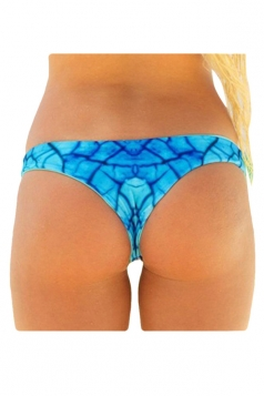 Womens Sexy Printed Swimsuit Bottom Blue