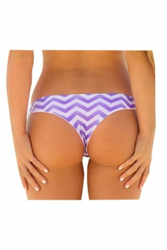 Womens Sexy Wave Printed Swimsuit Bottom Purple
