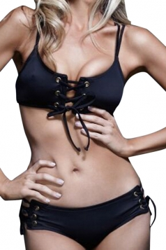 Womens Sexy Lace Up Plain Bikini Top & Swimwear Bottom Black