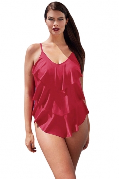 Womens Sexy Plus Size Plain Ruffled One Piece Swimsuit Ruby