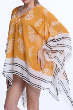 Womens Sexy Batwing Sleeve Printed Lace Up Front Beach Cover Yellow